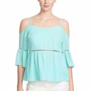 1.State Flutter sleeve cold shoulder mint blouse